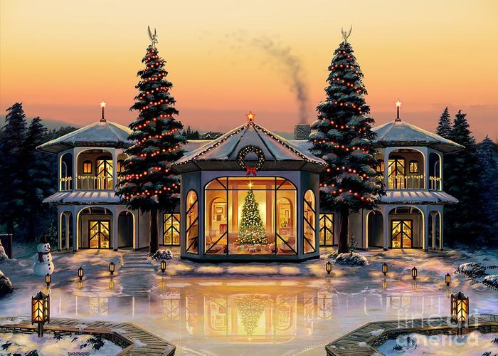 Christmas Greeting Card featuring the painting A Warm Home For The Holidays by Stu Shepherd