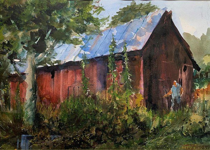 Rural. Barn Greeting Card featuring the painting Abandoned at Aum Creek by Charles Rowland
