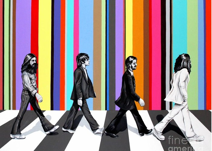 The Beatles Greeting Card featuring the painting Abbey Road Technicolor by Amy Belonio
