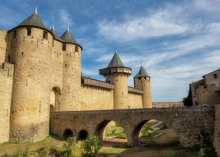 Horizontal Greeting Card featuring the photograph Access Bridge To The Medieval Village Of Carcassonne by Vicen Photography