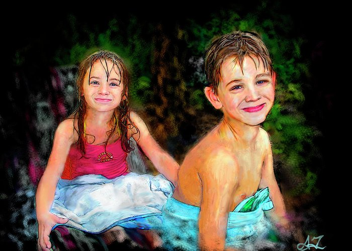 Portrait Greeting Card featuring the digital art After- Swim by Arthur Fix