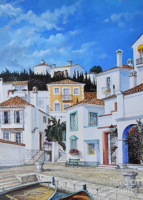 City Greeting Card featuring the painting Afternoon Light In Montenegro by Sinisa Saratlic