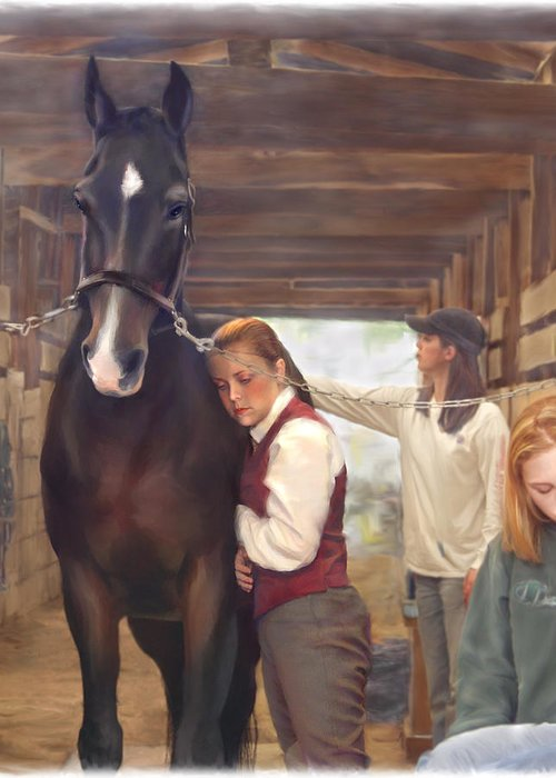 Horse Greeting Card featuring the painting Aisle Hug Horse Show Barn Candid Moment by Connie Moses