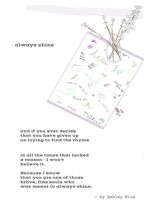 Poem Greeting Card featuring the mixed media Always Shine by Ashley Rice