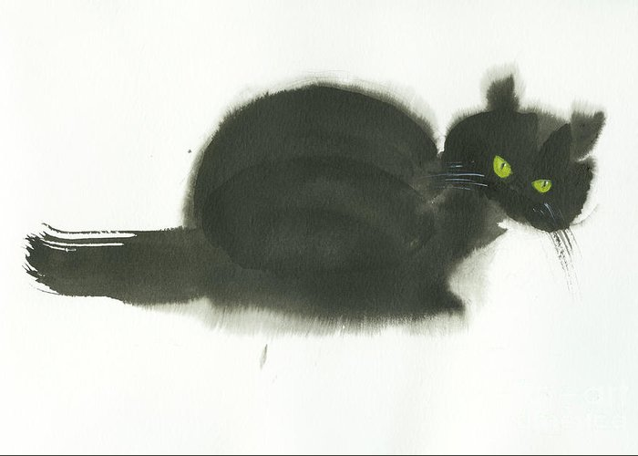 An Angry Cat With Green Eyes. This Is A Simple Contemporary Chinese Brush Painting On Rice Paper. Greeting Card featuring the painting Angry Cat by Mui-Joo Wee