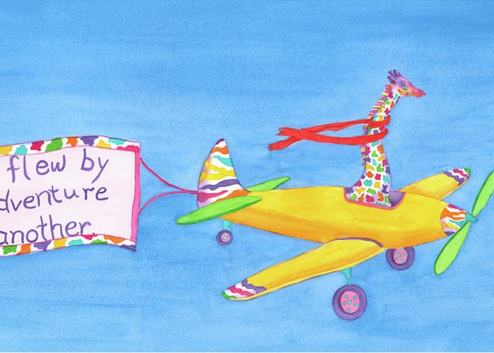 Giraffe Greeting Card featuring the painting Annabelle Flies the Skies by Rhonda Leonard