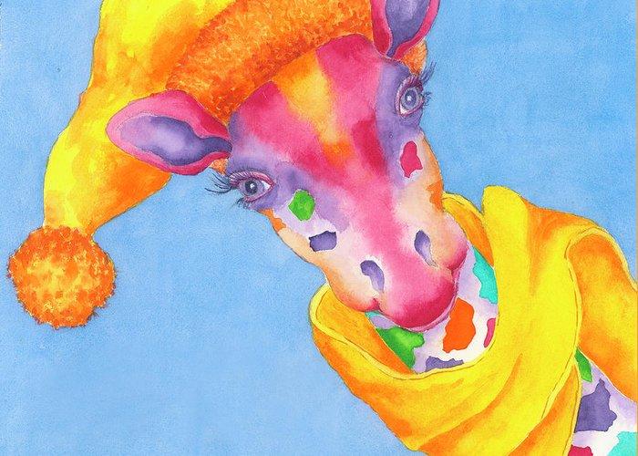 Giraffe Greeting Card featuring the painting Annabelle Winter Selfie by Rhonda Leonard