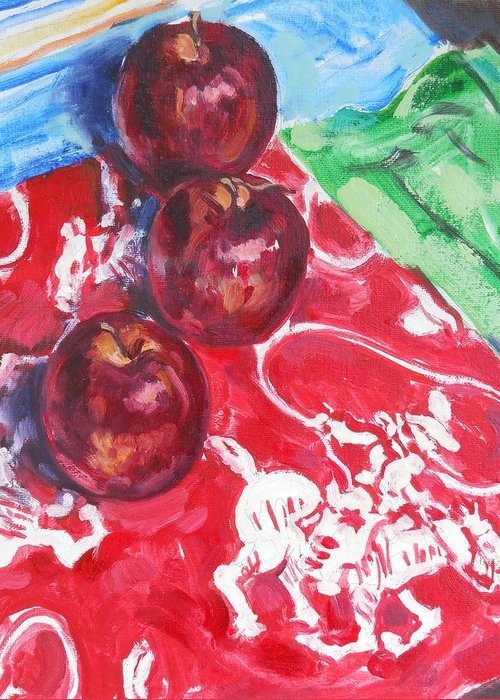 Apple Greeting Card featuring the painting Apple Round-up by Thomas Dans