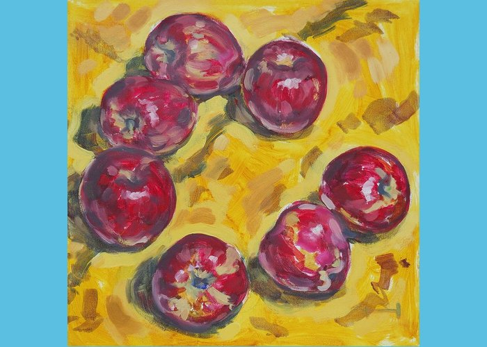 Apple Greeting Card featuring the painting Apple Time by Thomas Dans