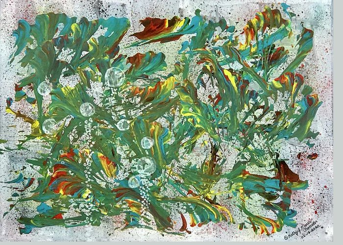 Aquatic Greeting Card featuring the painting Aquatic Blotter Flashback by Kathy Marrs Chandler