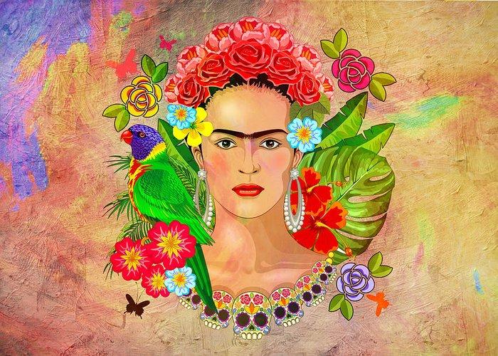 Friday Kahlua Greeting Card featuring the digital art Frida Kahlo by Mark Ashkenazi