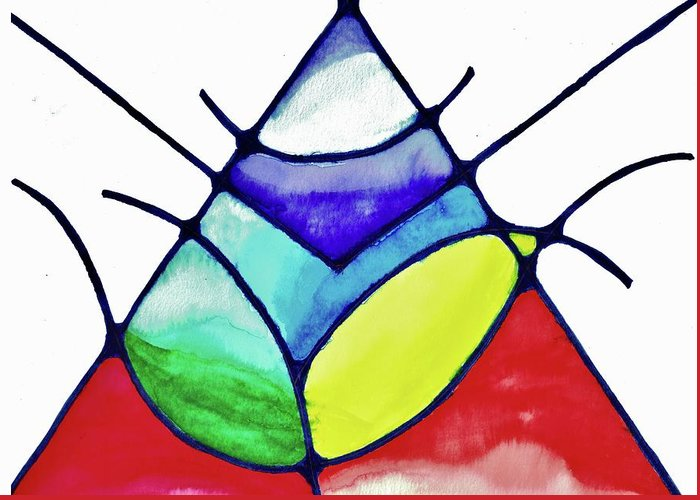 Abstract Greeting Card featuring the painting Ascension by Della McGee