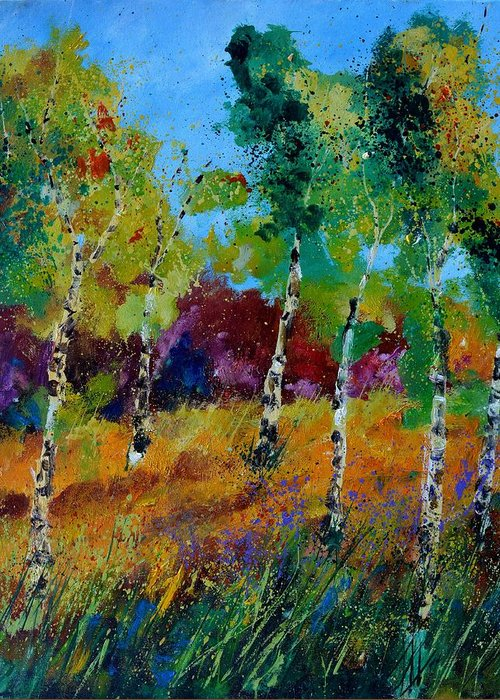 Landscape Greeting Card featuring the painting Aspen trees in autumn by Pol Ledent