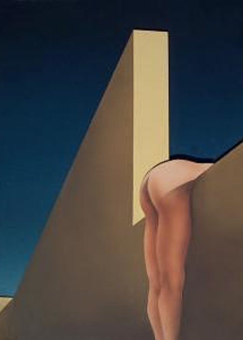 Nude Female Greeting Card featuring the painting Ass Hanging Over The Wall by Philip Fleischer