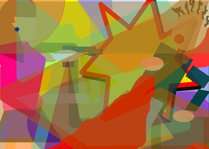 Abstract Greeting Card featuring the digital art Assassin by Pharris Art