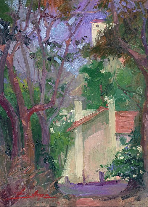 Pleinair Painting Greeting Card featuring the painting At Jourey's End Plein Air by Betty Jean Billups