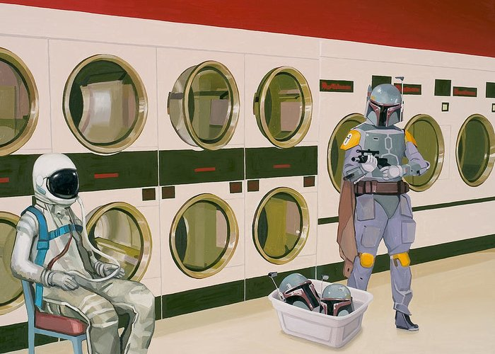Astronaut Greeting Card featuring the painting At the Laundromat with Boba Fett by Scott Listfield