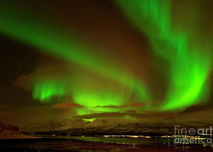 Northern Lights Greeting Card featuring the photograph Aurora Borealis Or Northern Lights ,lyngen Alps, North Norway by Neale And Judith Clark