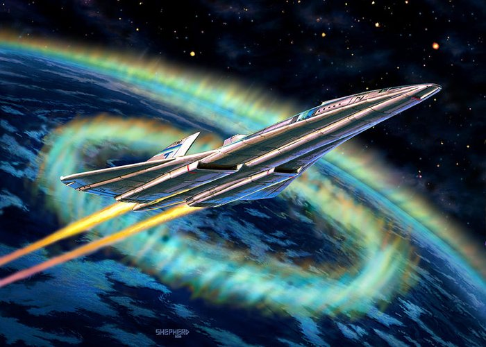 Space Greeting Card featuring the painting Auroral Fire by Stu Shepherd