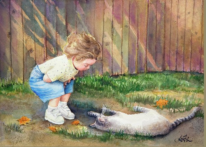 Child Greeting Card featuring the painting Autumn Catnip by Arthur Fix