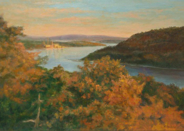 Landscape Greeting Card featuring the painting Autumn Hudson Highlands by Phyllis Tarlow