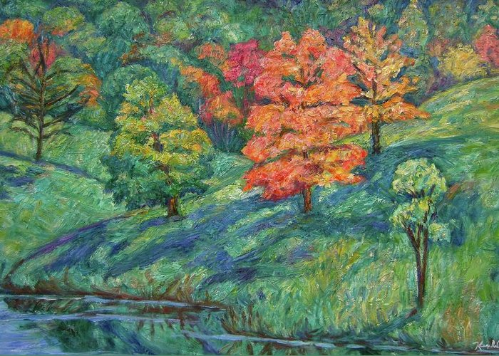 Landscape Greeting Card featuring the painting Autumn Pond by Kendall Kessler
