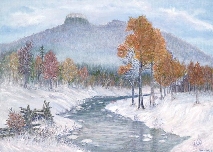 Snow Greeting Card featuring the painting Autumn Snow by Ben Kiger