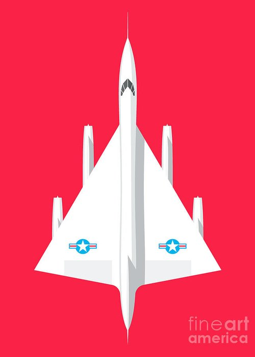 Airplane Greeting Card featuring the digital art B-58 Hustler Supersonic Jet Bomber - Crimson by Organic Synthesis