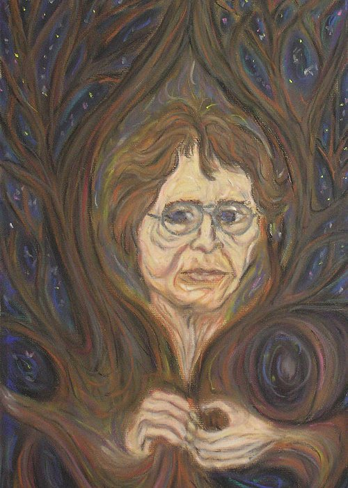 Portrait Greeting Card featuring the painting Barbara's Tree by Stephen Mead