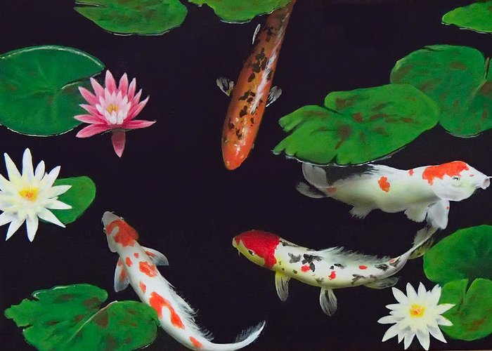 Koi Greeting Card featuring the painting Barbie's Koi pond by Philip Fleischer