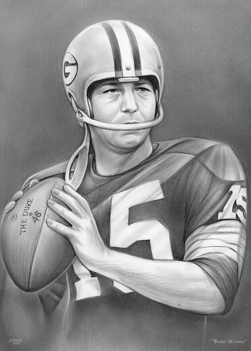Bart Starr Greeting Card featuring the drawing Bart Starr - Pencil by Greg Joens