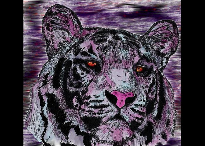 Tiger Greeting Card featuring the digital art Bashful Reloaded by Crystal Hubbard