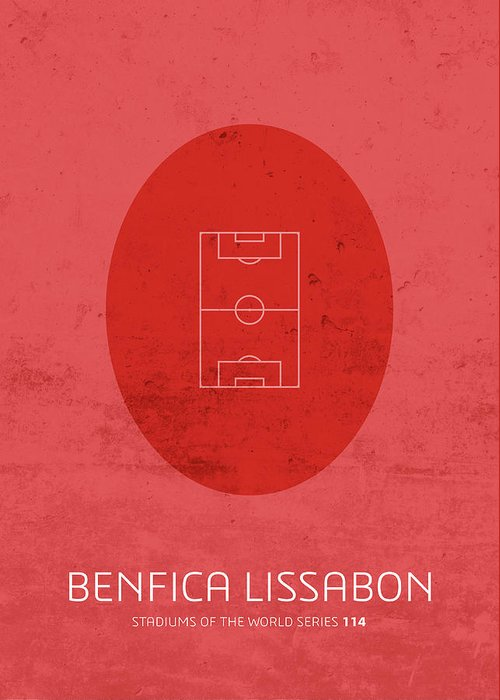 Benfica Greeting Card featuring the mixed media Benfica Lissabon Stadium Football Soccer Minimalist Series by Design Turnpike