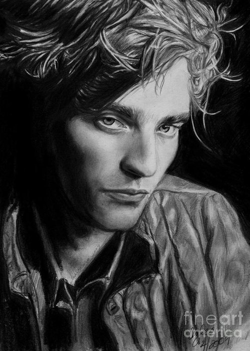 Pattinson Greeting Card featuring the drawing Beyond Twilight by Carliss Mora