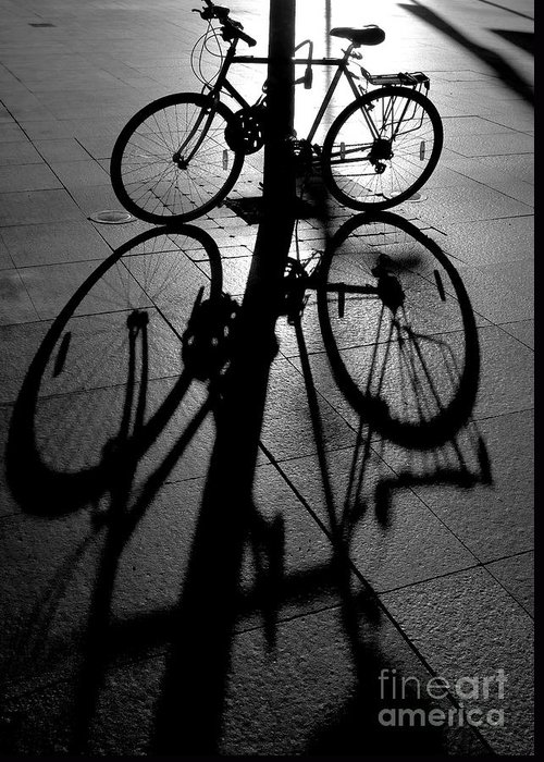 Bicycle Greeting Card featuring the photograph Bicycle shadow by Sheila Smart Fine Art Photography