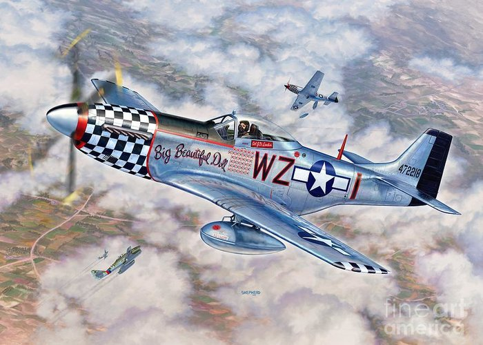 P-51 Mustang Greeting Card featuring the painting Big Beautiful Doll by Stu Shepherd