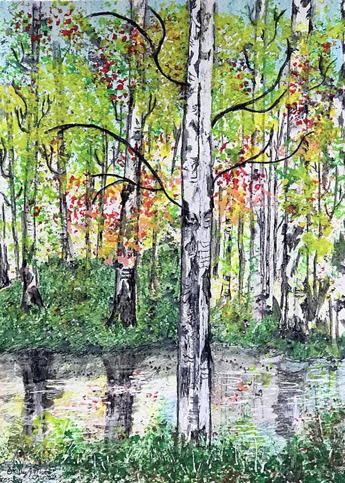 Birch Trees Greeting Card featuring the painting Birch Trees in The Fall by Kathy Marrs Chandler
