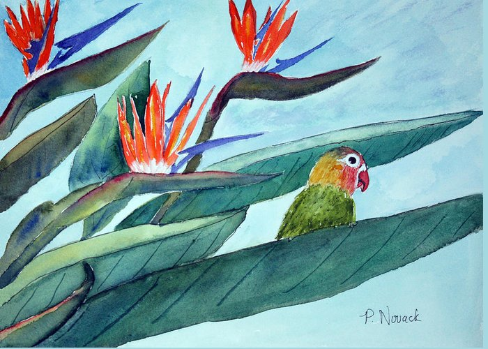 Bird Greeting Card featuring the painting Bird In Paradise by Patricia Novack