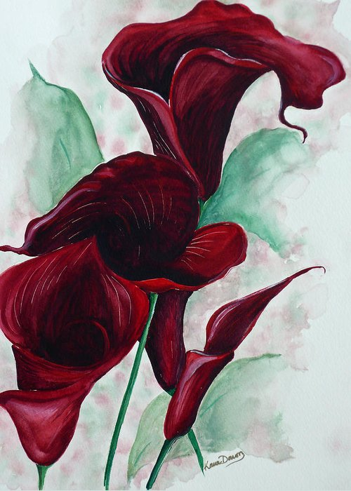 Flower Painting Floral Painting Botanical Painting Tropical Painting Caribbean Painting Calla Painting Red Lily Painting Deep Red Calla Lilies Original Watercolor Painting Greeting Card featuring the painting Black Callas by Karin Dawn Kelshall- Best