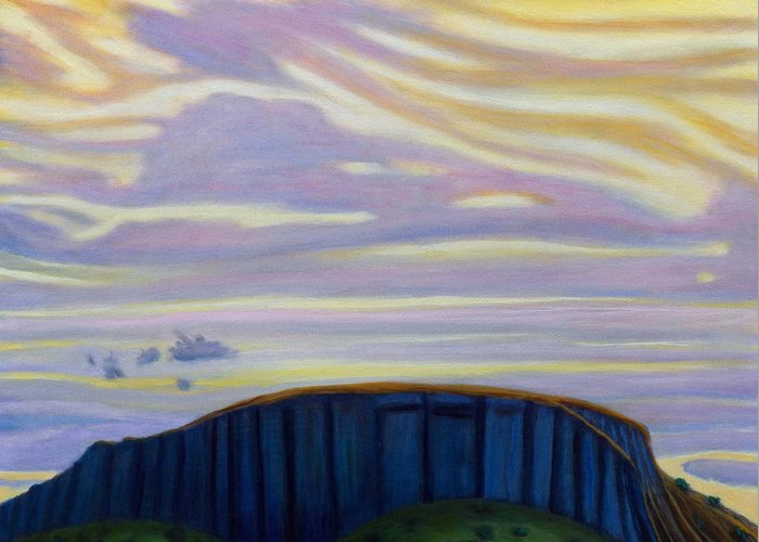 Black Mesa Greeting Card featuring the painting Black Mesa by Brian Commerford