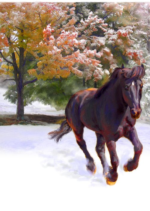 Horse Greeting Card featuring the painting Black Stallion In Fall Snow Fantasy Art by Connie Moses