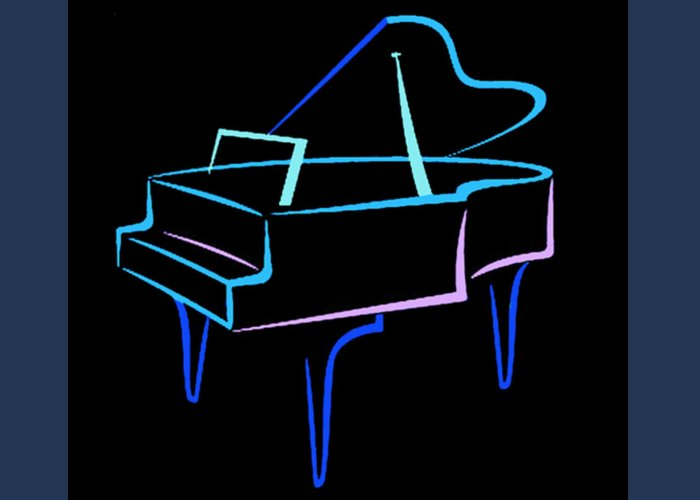 Piano Greeting Card featuring the digital art Blue Abstract Piano by Thomas Dans