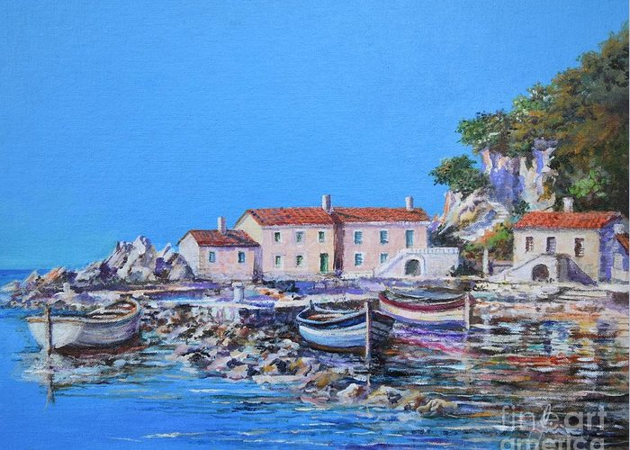 Original Painting Greeting Card featuring the painting Blue Bay by Sinisa Saratlic
