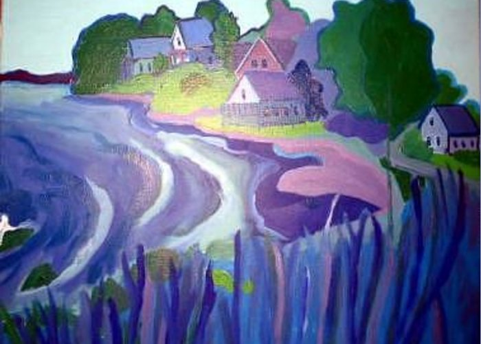 Cottages Greeting Card featuring the painting Blue Cottages by Debra Bretton Robinson
