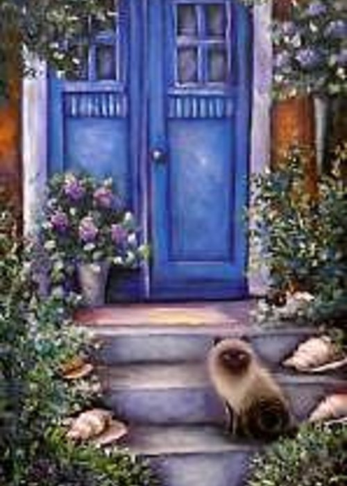Whimsy Greeting Card featuring the painting Blue Door by L Risor