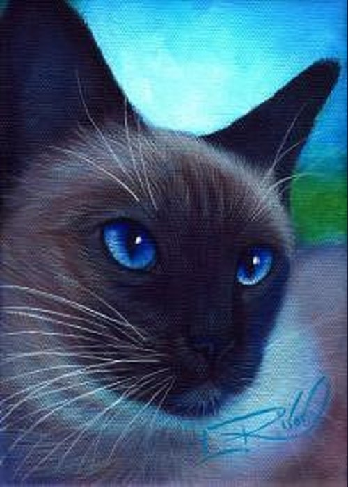 Whimsy Greeting Card featuring the painting Blue Eyes by L Risor