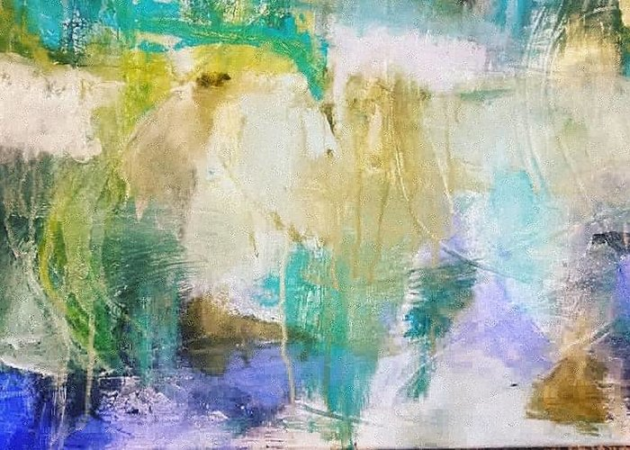 Abstract Greeting Card featuring the painting Blue, White, Gold by Patricia Byron