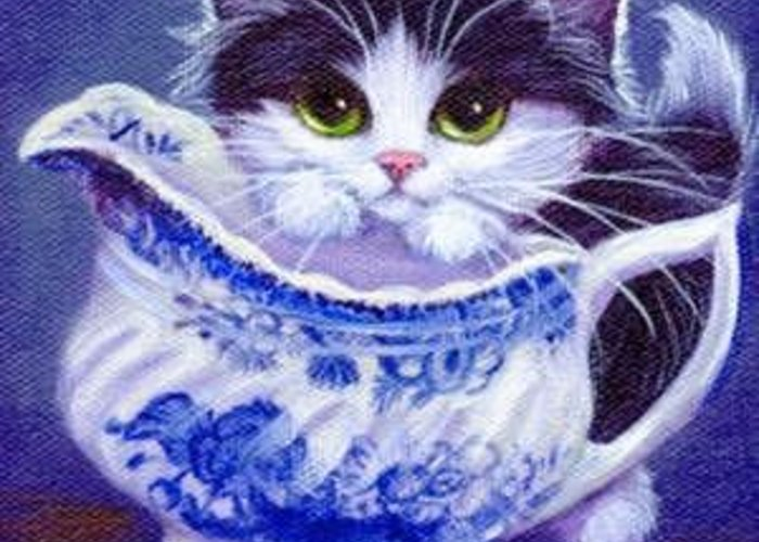 Whimsy Greeting Card featuring the painting Blue Willow Cream Tux Kitty by L Risor