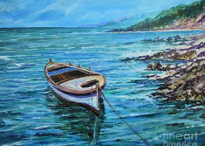 Beach And Waves Greeting Card featuring the painting Boat by Sinisa Saratlic