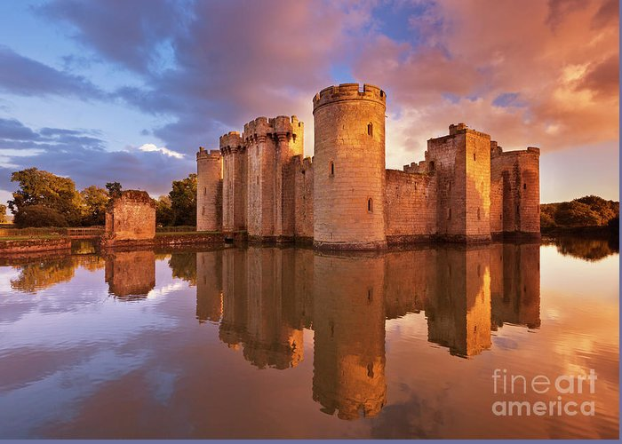 Bodiam Castle Greeting Card featuring the photograph Bodiam Castle Sunset, Sussex, England by Neale And Judith Clark